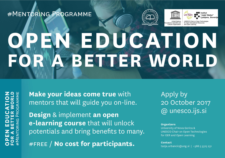 "Launching ""Open Education for a better world"" international online mentoring programme"
